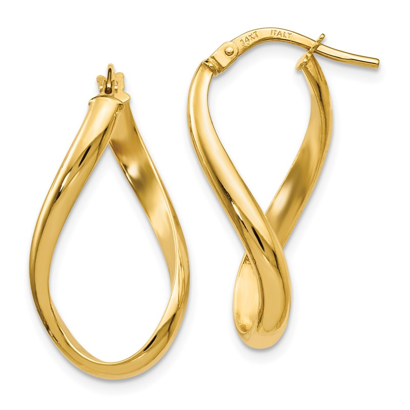 Leslies Real 14kt Yellow Gold Polished and Textured Twisted Hoop Earrings