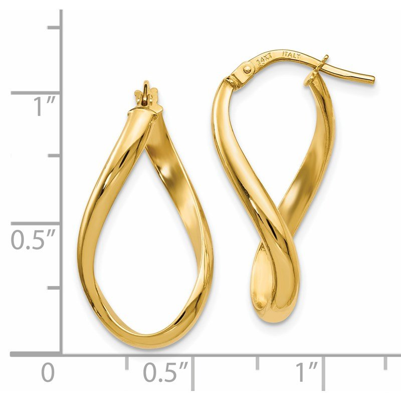 Leslie's Leslie's 14K Polished Oval Twisted Hoop Earrings