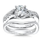 Caro74 Classic Elegance Collection Diamond Criss Cross Engagement Ring with Side Stones  in 14K White Gold with Platinum Head (1ct. tw.)