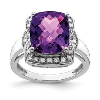 Sterling Silver Rhodium-plated Diamond & Checker-Cut Amethyst Ring