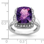 Quality Gold Sterling Silver Rhodium-plated Diamond & Checker-Cut Amethyst Ring