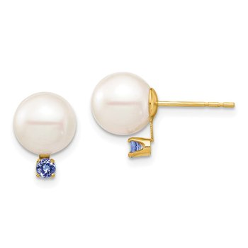 14K 8-8.5mm White Round Freshwater Cultured Pearl Tanzanite Post Earrings