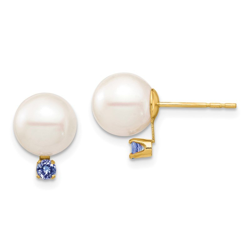 Quality Gold 14K 8-8.5mm White Round Freshwater Cultured Pearl Tanzanite Post Earrings