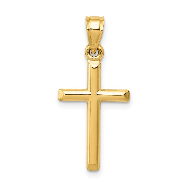 Quality Gold 14k Polished Hollow Cross Pendant