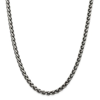 Sterling Silver Antiqued 6mm Round Spiga Chain