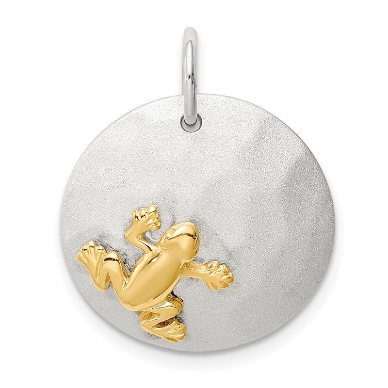 Quality Gold Sterling Silver Gold-Tone Frog Brushed Pendant