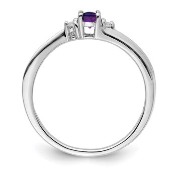 Sterling Silver Rhodium-plated Amethyst Birthstone Ring