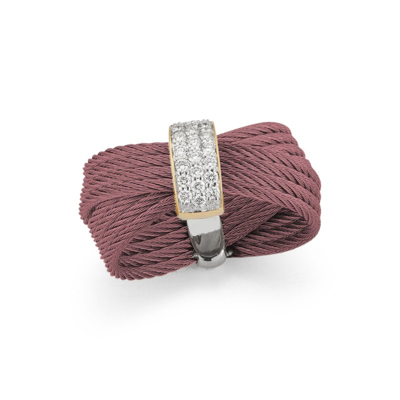 ALOR Burgundy Cable Bow Ring with 18kt Yellow Gold & Diamonds