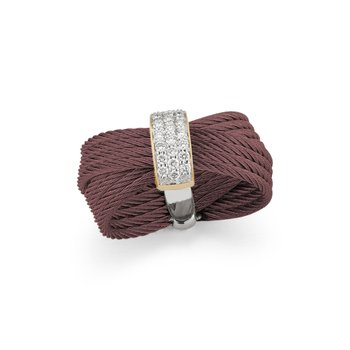 Burgundy Cable Bow Ring with 18kt Yellow Gold & Diamonds