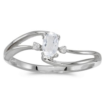 10k White Gold Oval White Topaz And Diamond Wave Ring