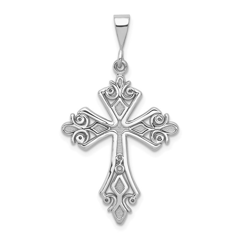 Quality Gold 14k White Gold Fleur De Lis Cross Pendant