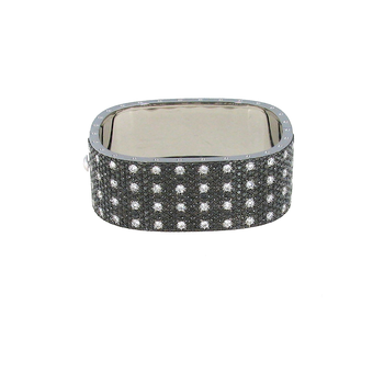 18Kt Gold 4 Row Bangle With Black And White Diamonds
