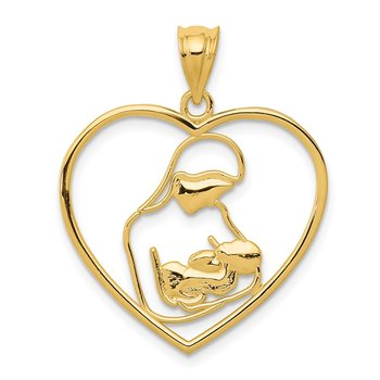 14k Mother and Child in Heart Pendant