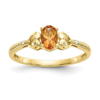 10K Citrine and Diamond Ring