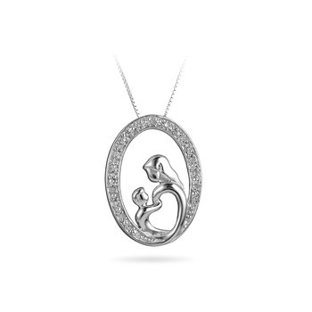 925 Sterling Silver and Diamond Mother and Child Pend