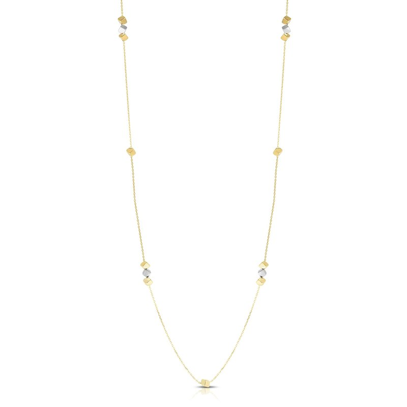Royal Chain 14K Gold Long Strand Cube Necklace