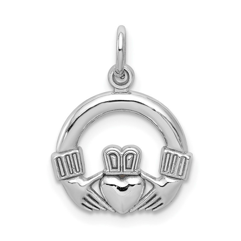 Quality Gold 10k White Gold Claddagh Charm