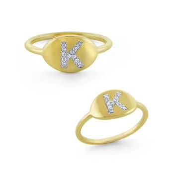 14K Gold and Diamond Initial Ring