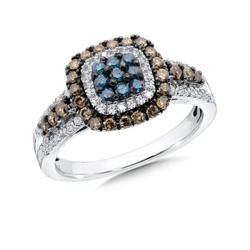 Pave set Blue, Cognac and White Diamond Ring, 14k White Gold  (3/4 ct. tw.)