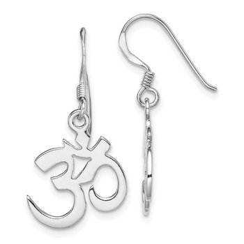 Sterling Silver Rhodium-plated OM Symbol Dangle Earring