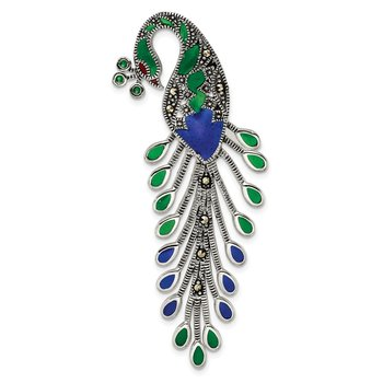 Sterling Silver Antiqued Green/Red/Blue Epoxy Marcasite Peacock Slide
