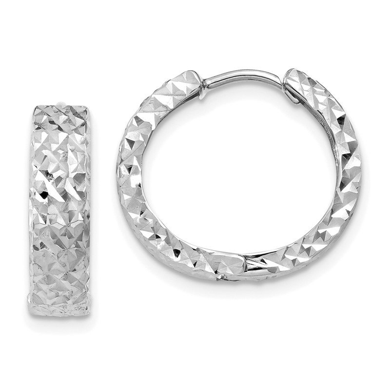 Quality Gold 14k White Gold Diamond-cut Hinged Hoop Earrings