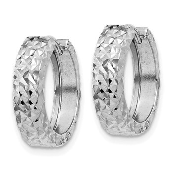 14k White Gold Diamond-cut Hinged Hoop Earrings