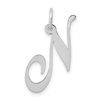 14K White Gold Medium Fancy Script Letter N Initial Charm