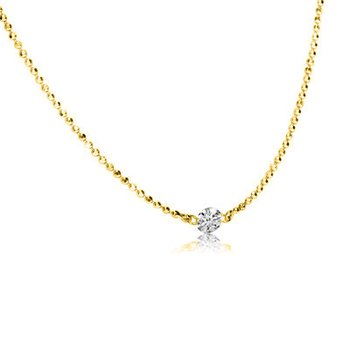 "14K Yellow Gold .15 Single Diamond By The Yard Necklace with 18"" Chain"