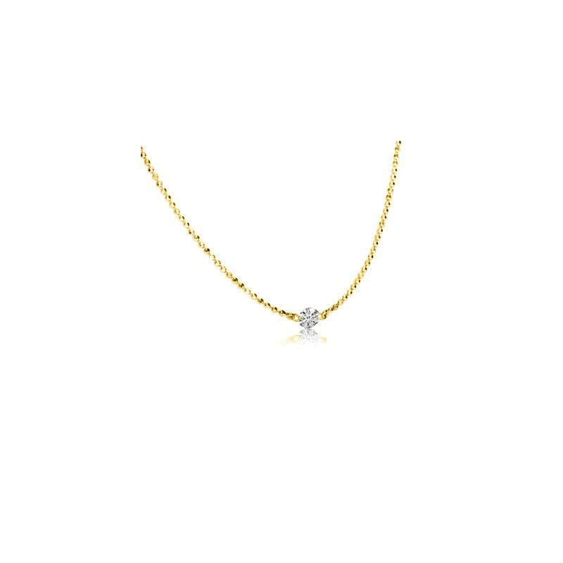 "Color Merchants 14K Yellow Gold .15 Single Diamond By The Yard Necklace with 18"" Chain"
