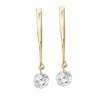 14K Yellow Gold .30 ct Dashing Diamonds Earrings