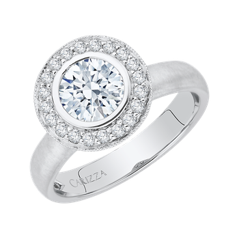 14K White Gold Round Diamond Halo Engagement Ring (Semi-Mount)