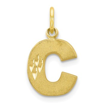10K Satin Diamond-cut Initial C Charm