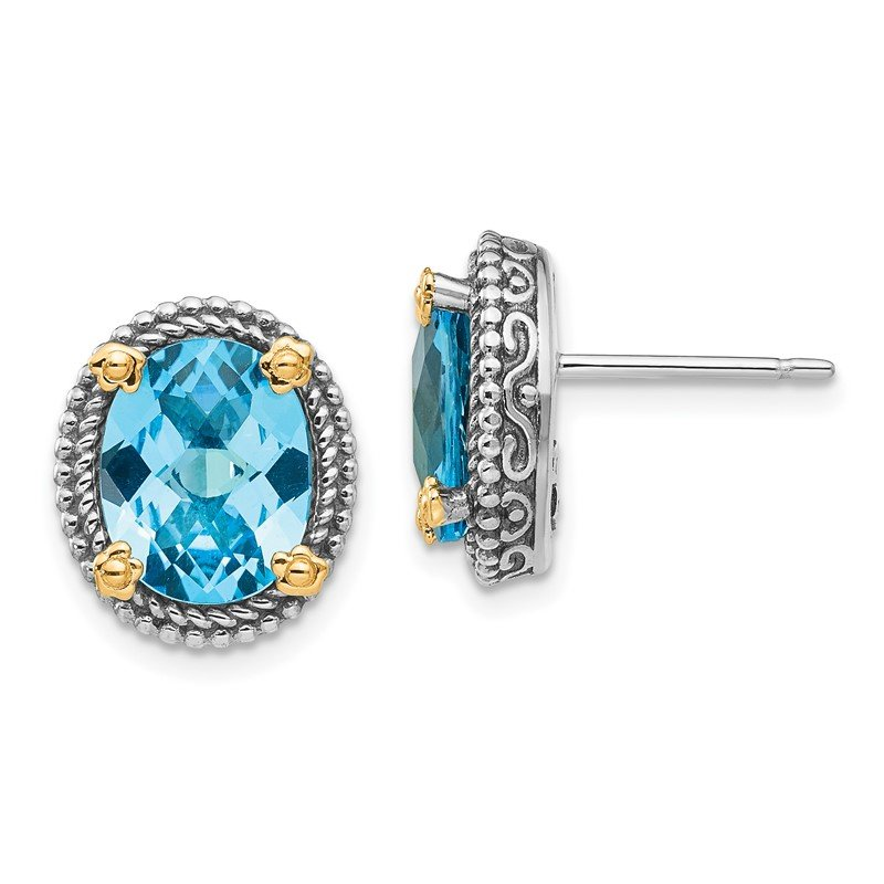 Quality Gold Sterling Silver w/14k Swiss Blue Topaz Earrings