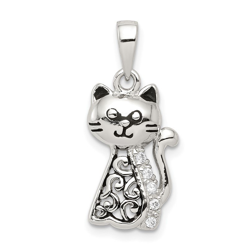 Quality Gold Sterling Silver Antiqued CZ Cat Pendant