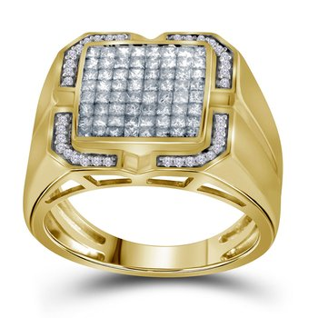 10kt Yellow Gold Mens Princess Diamond Cluster Ring 1.00 Cttw