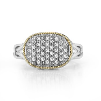 Sterling Silver and 18K Yellow Gold with Diamond Ring.
