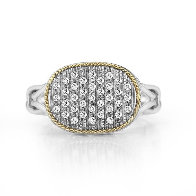 Shula NY Sterling Silver and 18K Yellow Gold with Diamond Ring.