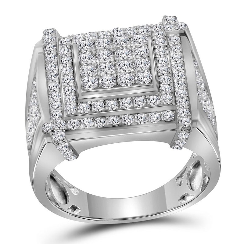 Kingdom Treasures 10kt White Gold Mens Round Diamond Square Cluster Ring 2-3/4 Cttw