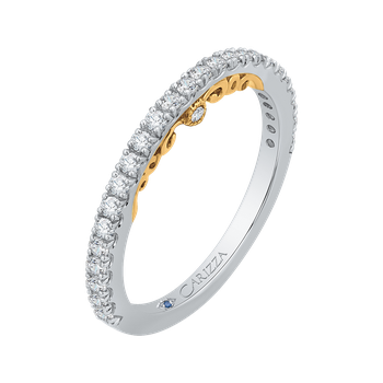 18K Two-Tone Gold Round Cut Diamond Wedding Band