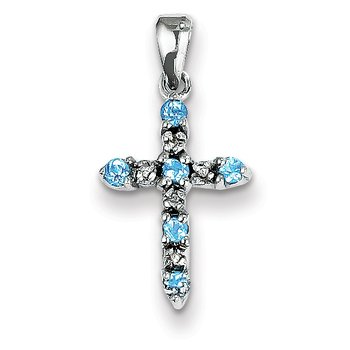 14k White Gold Blue Topaz & Diamond Cross Pendant