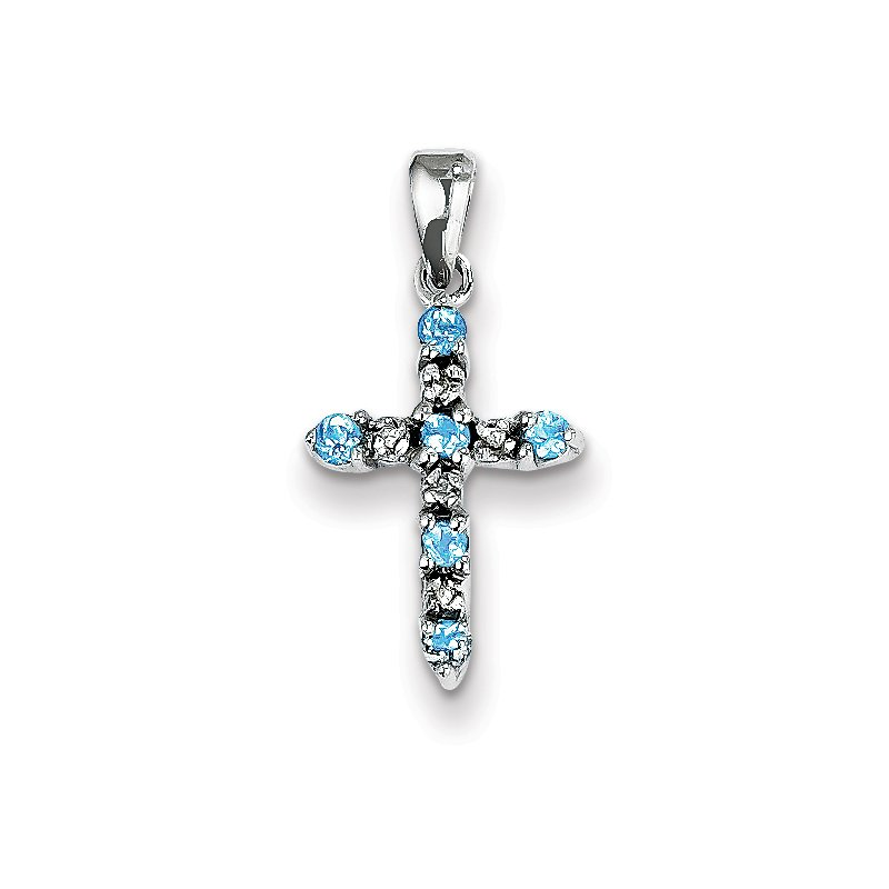 Quality Gold 14k White Gold Blue Topaz & Diamond Cross Pendant