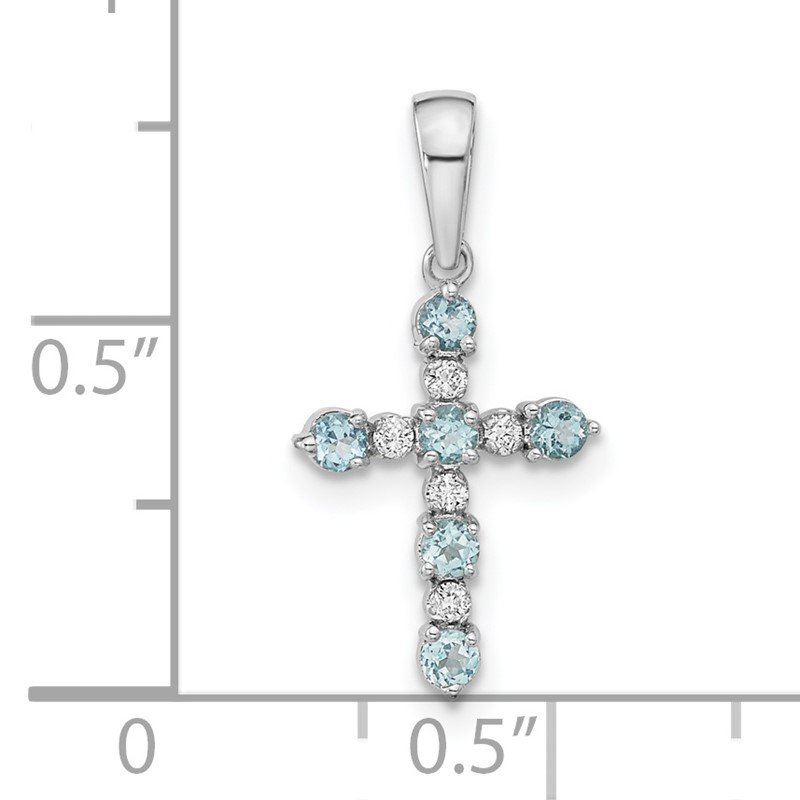 Quality Gold 14k White Gold Blue Topaz and Diamond Cross Pendant