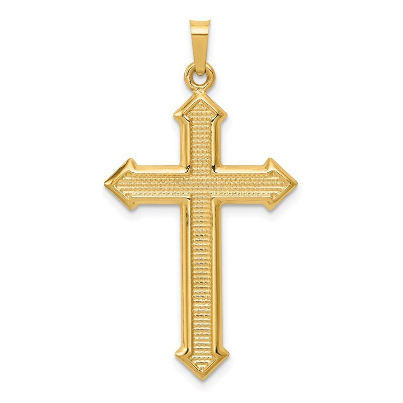 Quality Gold 14k Polished and Textured Passion Cross Pendant