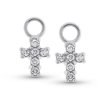 Diamond Cross Earring Charms in 14k White Gold with 12 Diamonds weighing .30ct tw.
