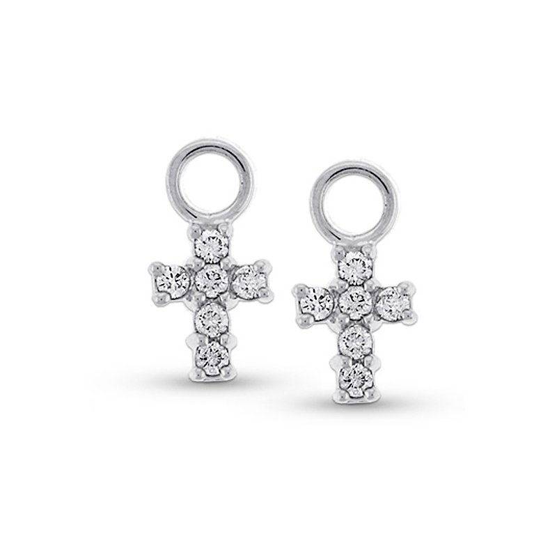 MAZZARESE Fashion Diamond Cross Earring Charms in 14k White Gold with 12 Diamonds weighing .30ct tw.