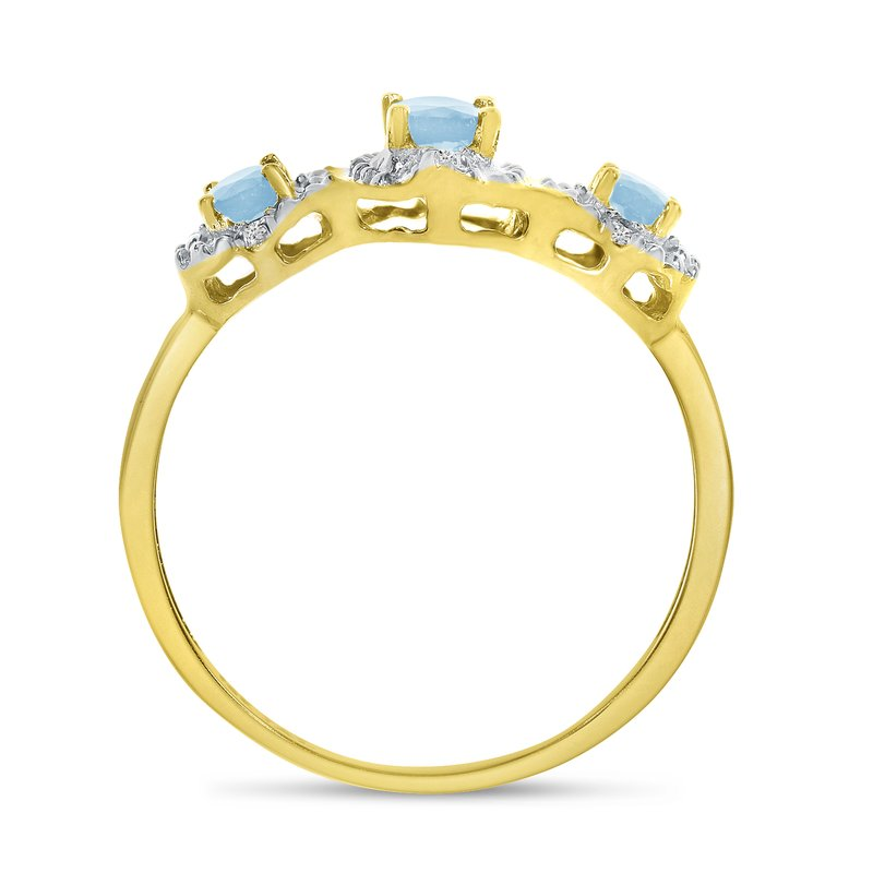 Color Merchants 10k Yellow Gold Oval Aquamarine And Diamond Three Stone Ring