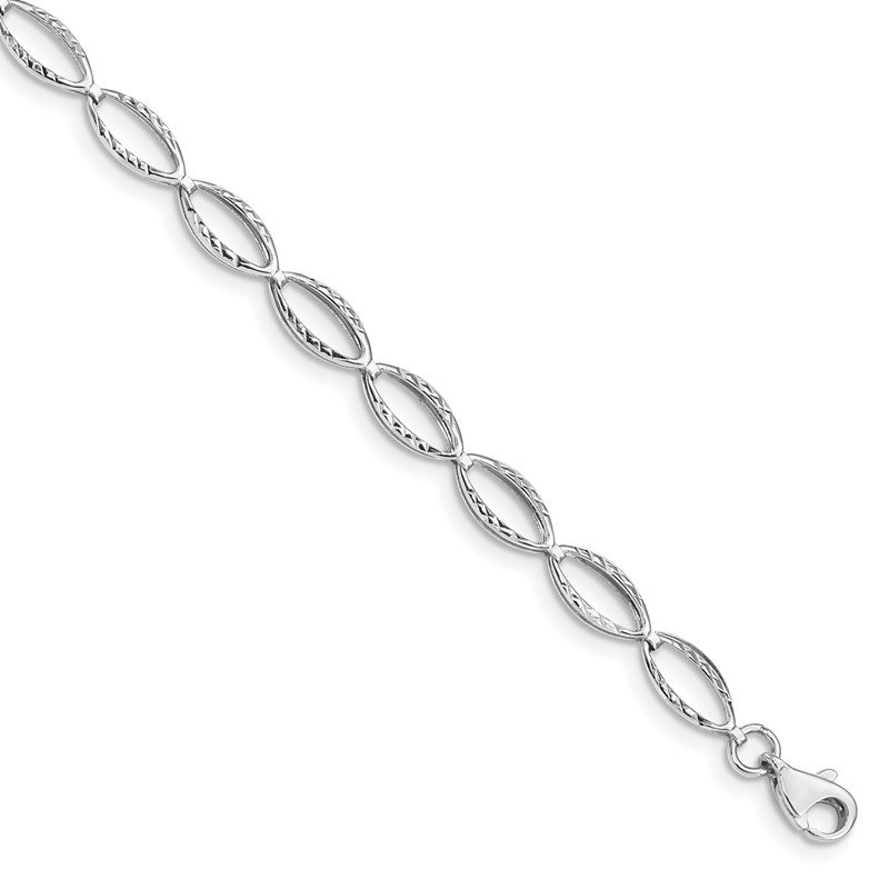 Quality Gold 14k White Gold Polished Oval Link Bracelet