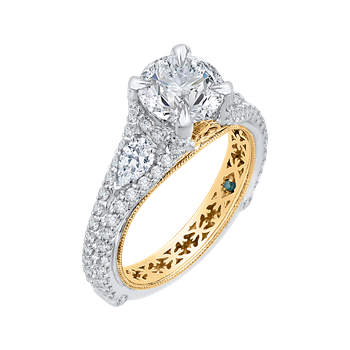 18K Two-Tone Gold Round Diamond Engagement Ring with Split Shank (Semi-Mount)