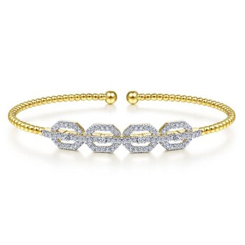 14K Yellow Gold Bujukan Bead Cuff Bracelet with Diamond Pavé Links